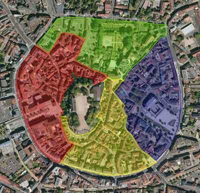 Carte de la cité médiévale divisée en 4 zones